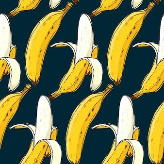 Modèle sans couture de banane dessiné à la main