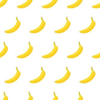 Modèle sans couture avec banane mûre jaune entière isolé sur fond blanc