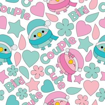 Modèle sans couture avec bande dessinée de vecteur oiseaux couple mignon adapté pour la conception de papier peint anniversaire enfant, papier brouillon et fond de vêtements tissu enfant