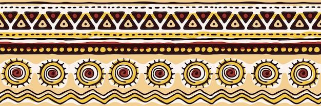 Modèle sans couture, bannière, origine ethnique, dessin à la main, dessin vectoriel