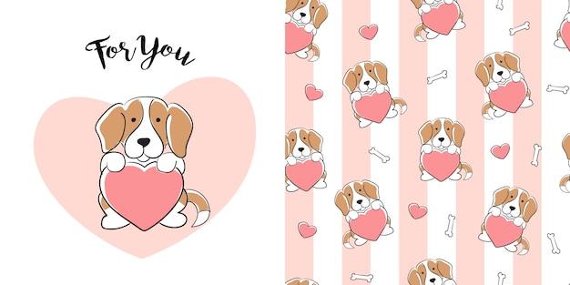 Modèle sans couture beagle dessiné à la main