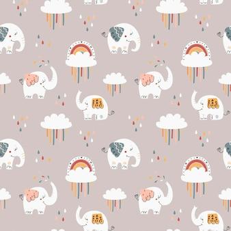 Modèle sans couture de bébé avec des éléphants mignons