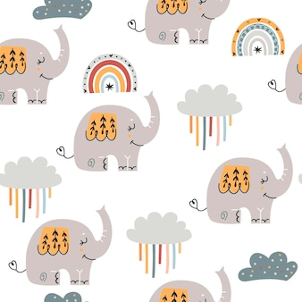 Modèle sans couture de bébé avec des éléphants