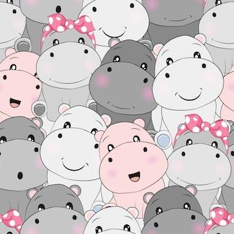 Modèle sans couture bébé hippo mignon
