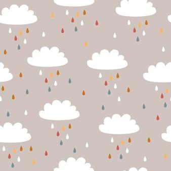 Modèle sans couture de bébé avec de jolis nuages et pluie