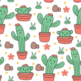 Modèle sans couture de bébé mignon cactus