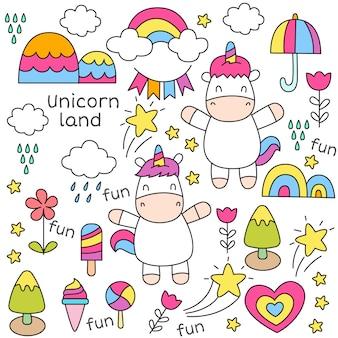 Modèle sans couture de bébé mignon licorne doodle