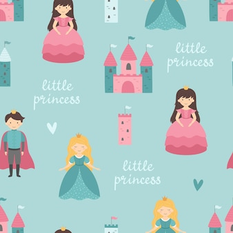 Modèle sans couture de bébé avec une princesse un prince un château