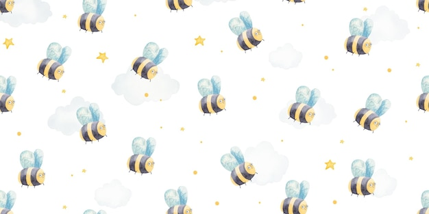 Modèle sans couture avec des bébés abeilles, illustration de bébé mignon
