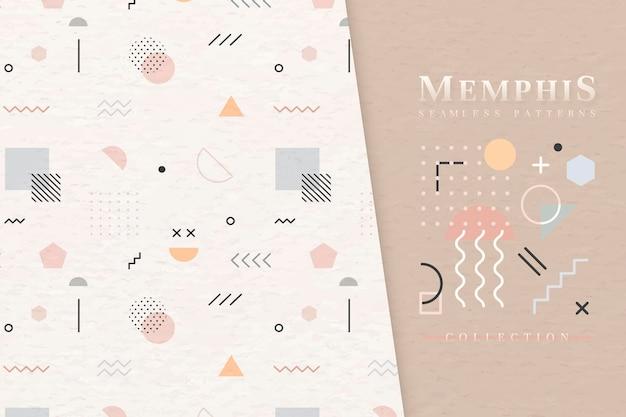 Modèle Sans Couture Beige Memphis Vecteur gratuit