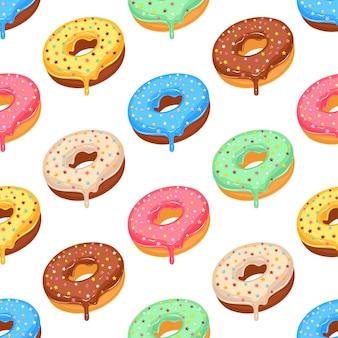 Modèle sans couture de beignet glacé coloré sucre