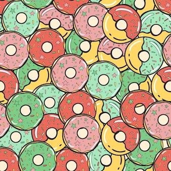 Modèle sans couture. beignets sucrés colorés