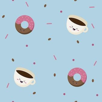 Modèle sans couture de beignets sucrés roses avec des étincelles sur le dessus et une tasse de café simple avec des grains de café