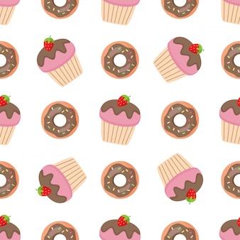 Modèle sans couture avec beignets sucrés roses et muffins.