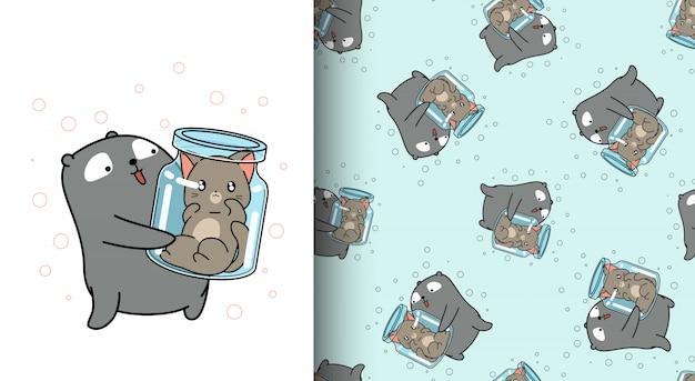 Modèle sans couture bel ours soulève le chat à l'intérieur de la bouteille