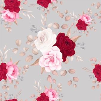 Modèle sans couture belle conception de fleurs et de feuilles