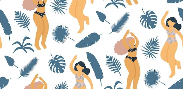 Modèle sans couture avec une belle dame sur la plage. élément pour une fête d'été dans le style plat.