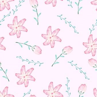 Modèle sans couture de belle fleur aquarelle