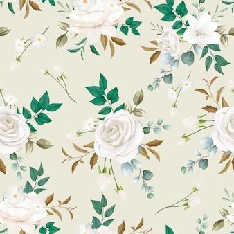 Modèle sans couture de belle fleur blanche