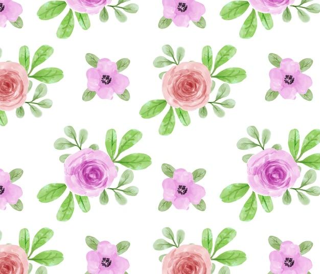 Modèle sans couture belle fleur et feuilles