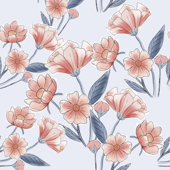Modèle sans couture de belle fleur rouge