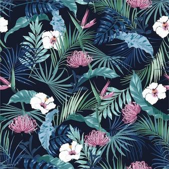 Modèle sans couture de belle fleur tropicale sombre élégante