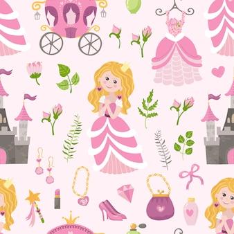 Modèle sans couture avec belle princesse, château, calèche et accessoires.