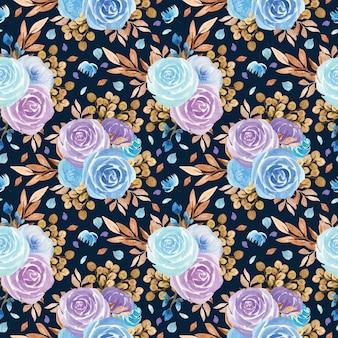 Modèle sans couture avec de belles fleurs bleues et violettes