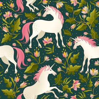 Modèle sans couture avec de belles licornes.
