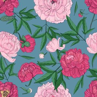 Modèle sans couture de belles pivoines. fleurs, bourgeons et feuilles dessinés à la main. illustration colorée.
