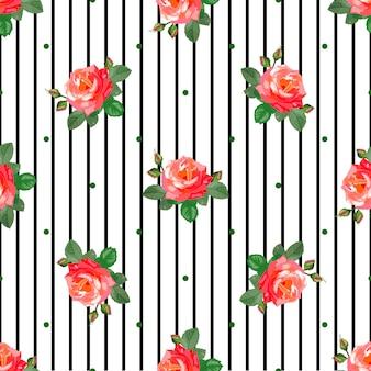 Modèle sans couture avec de belles roses et rayures noires verticales.