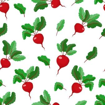 Modèle sans couture avec betteraves betteraves légumes cuisine textile illustration vectorielle stock