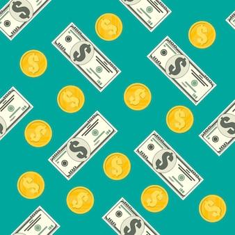 Modèle sans couture de billets en dollars et pièces d'or. concept d'épargne, de don, de paiement. symbole de richesse. illustration vectorielle dans un style plat