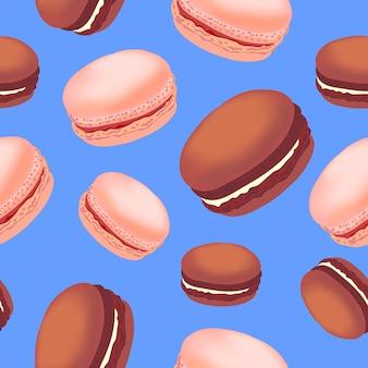 Modèle sans couture avec des biscuits macarons colorés sur fond blanc.