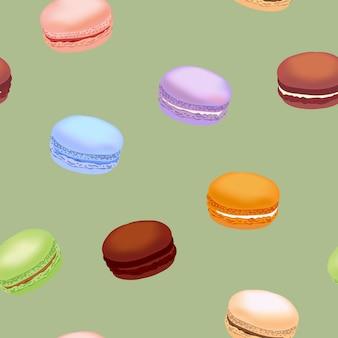 Modèle sans couture avec des biscuits macarons colorés.