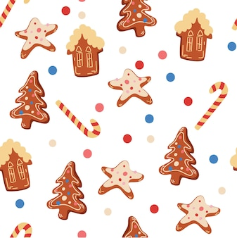 Modèle sans couture de biscuits de noël. biscuits au gingembre. modèle du nouvel an pour la conception sur un thème de noël. impression de vacances d'hiver de vecteur pour textile, papier peint, tissu.