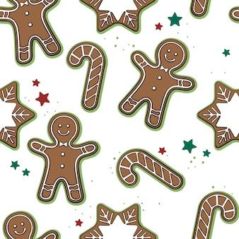 Modèle sans couture avec des biscuits de noël dessinés à la main sur blanc.