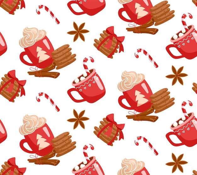 Modèle sans couture avec des biscuits de noël guimauves au chocolat chaud