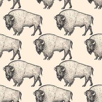 Modèle sans couture avec bison.