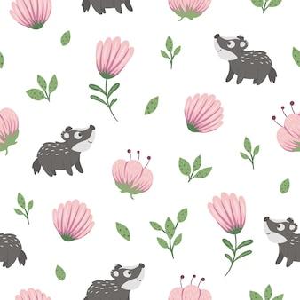 Modèle sans couture de blaireau bébé drôle dessiné à la main avec des feuilles stylisées et des fleurs roses.