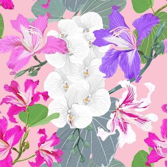 Modèle sans couture blanche orchidée et fond de fleurs sauvages roses.