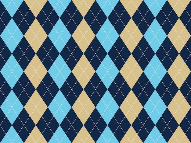 Modèle sans couture bleu beige blanc argyle