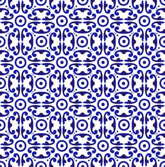 Modèle sans couture bleu et blanc au japon et chinois