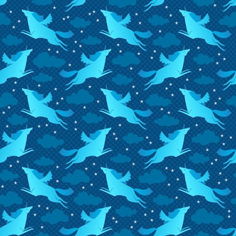 Modèle sans couture bleu licornes