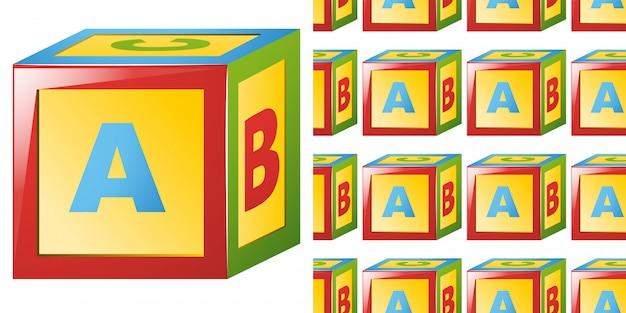 Modèle sans couture avec bloc alphabet