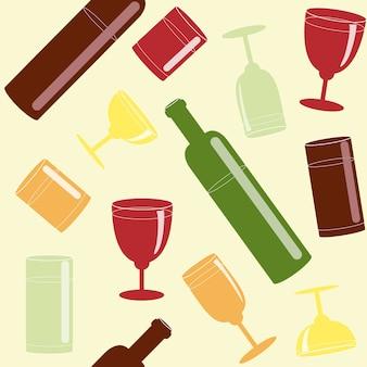 Modèle sans couture avec des boissons alcoolisées