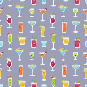 Modèle sans couture avec des boissons dans des verres avec des visages drôles mignons.