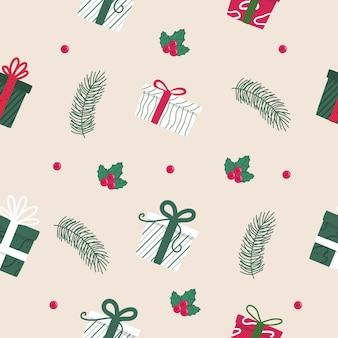 Modèle sans couture de boîte cadeau dessiné main avec berry