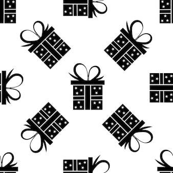 Modèle sans couture de boîte-cadeau noire