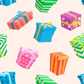 Modèle sans couture avec des boîtes. cadeaux de dessins animés multicolores avec des arcs.